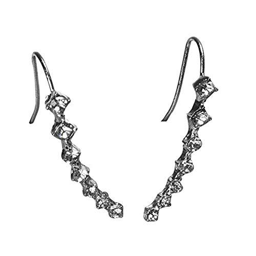 Windoson Rhinestone Crystal Earrings Ear Hook Sexy Stud Jewelry (Silver)