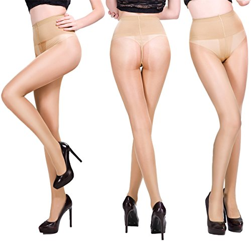Women's 3 Pack Sheer Pantyhose Silky Reinforced Crotch Tights Panty Hose of MERYLURE (Medium, (Cotton Nylon Pantyhose)