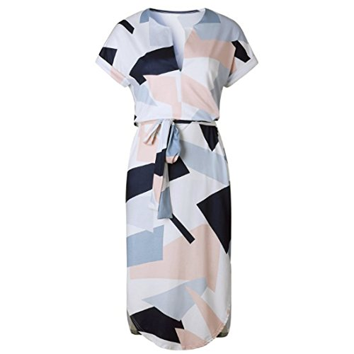 Dress Print Neck Midi Dress Irregular Women V Tie Dress Wrap Sexy Short Sleeve 0qwBRO6
