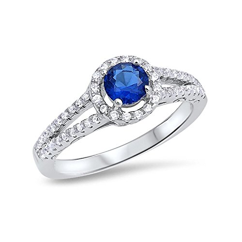 Round Simulated Blue Sapphire CZ Accent 925 Sterling Silver Open Shank Wedding Engagement - Open Shank Ring