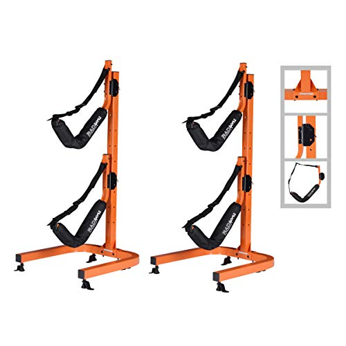 RAD Sportz Kayak Double Storage Rack- Self Standing 2 Canoes Kayaks Cradle Set with Adjustable Safety Strap System for Outdoor and Indoor Use