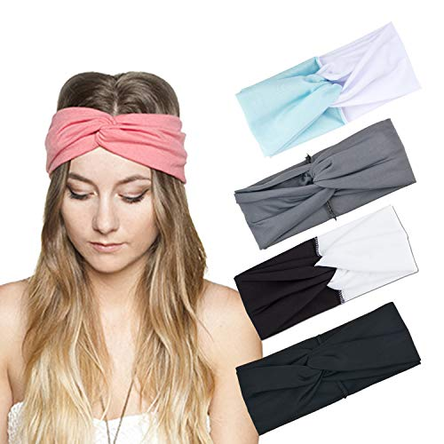 DRESHOW 4 Pack Headbands Vintage Elastic Printed Head Wrap Stretchy Moisture Hairband Twisted Cute Hair Accessories (4 Pack style 43) by DRESHOW