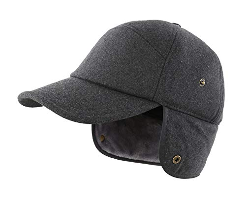 Home Prefer Earflap Ball Cap for Men Trucker Hat Baseball Dad Cap Relaxed Fit Earflap Hat with Visor Dark Grey ()