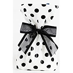 Saybrook Products Elegant Black Polka Dot Treat/Party Favor Bags with Twist-Tie Organza Bow. Set of 10 Ready-to-Use, Gussetted 11x5x3 Goodie Bags with Bows. Black, White