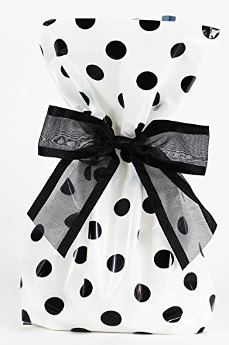- Saybrook Products Elegant Black Polka Dot Treat/Party Favor Bags with Twist-Tie Organza Bow. Set of 10 Ready-to-Use, Gussetted 11x5x3 Goodie Bags with Bows. Black, White
