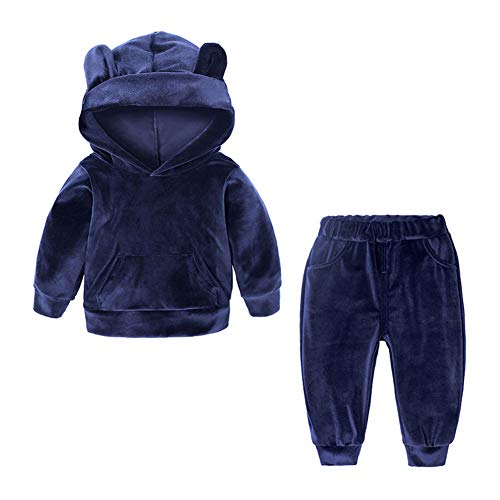 Kids Baby Boys Girls Solid 2 Piece Sweatsuit Tracksuits Velvet Clothes Set Outfit Pullover Hoodie - Sweatsuit Piece Infants 2