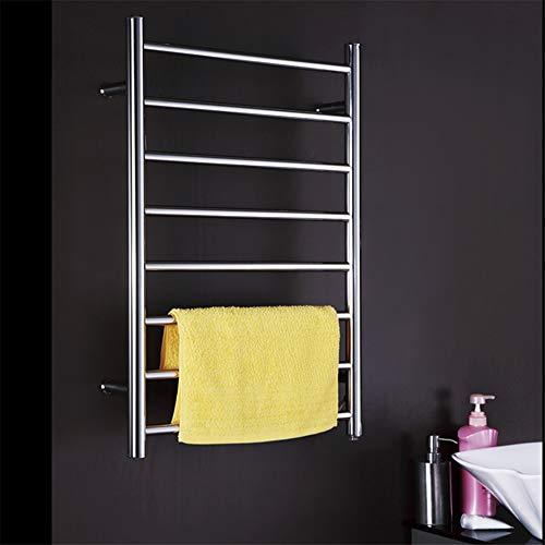 FWec Towel Warmer for Bathroom, Portable Electric Heated Towel Rail Rack,Stainless Steel Polished Hotel Wall Mounted Style Cloth Bath Towel Heater - Durable Waterproof