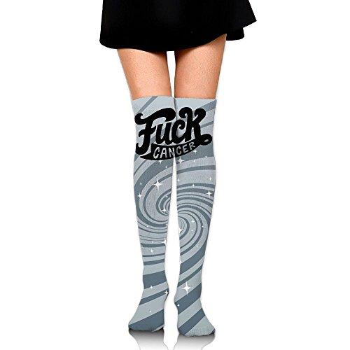 Women's Knee High Sport Long Sock Fuck Cancer For Jogging Sport Long Stockings by WRE8577