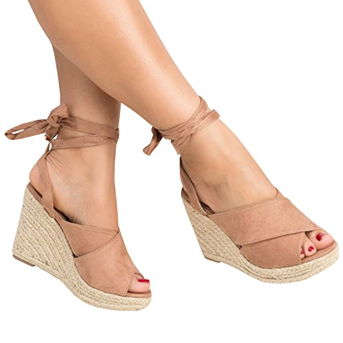 Enjoybuy Womens Espadrille Wedge Peep Toe Sandals Summer Ankle Tie Up Platform Shoes High Heel Sandal,01-khaki,9 (Ankle Tie Shoes)