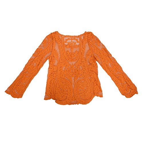 TOOGOO (R)Semi transparent manches dentelle avec Broderie florale Crochet veste retro Orange L