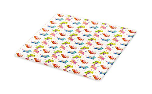 Lunarable Dragon Cutting Board, Lively Colored Cartoon Dragons with Large Nostrils among Pixie Dust Colorful Stars, Decorative Tempered Glass Cutting and Serving Board, Large Size, - Cutting Pixie Table