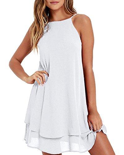 ZANZEA Women's Halter Solid Sleeveless Short Straight Dress, Off White, ()