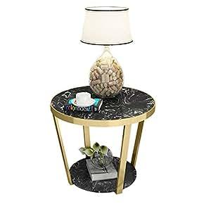 Amazon.com: ZHIRONG Mesa auxiliar de 2 capas de mármol con ...