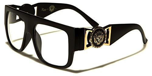 Kleo Flat Top Aviator RX Glasses Gold Buckle Hip Hop Rapper DJ Celebrity Clear Lens - Men Designer Glasses