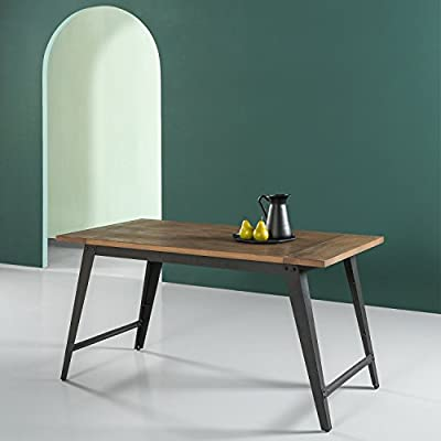 """Zinus Donna Wood and Metal Dining Table - Stylish pine wood with metal Leg detail Industrial style with rustic character Measures 56"""" x 29.5"""" x 29"""" - kitchen-dining-room-furniture, kitchen-dining-room, kitchen-dining-room-tables - 41QmlGxEw6L. SS400  -"""