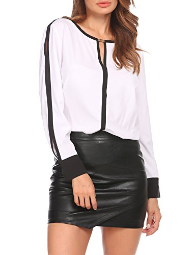 SE MIU Women Cut Out Slit Long Sleeve Round Collar Contrast Color Blouse Tops