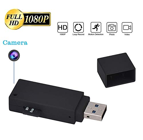 KEQI Hidden Camera 1080P Mini U-Disk Portable HD DVR USB Flash Drive Pinhole Camera Video Recorder (+32GB Memory Card) ()