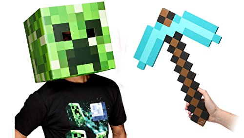 [Minecraft Creeper Head & Diamond Pickaxe Costume Set] (Adult Minecraft Costumes)
