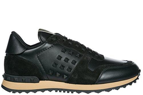 Valentino Hombres Zapatos Cuero Zapatillas De Deporte Zapatillas Rockstud Negro