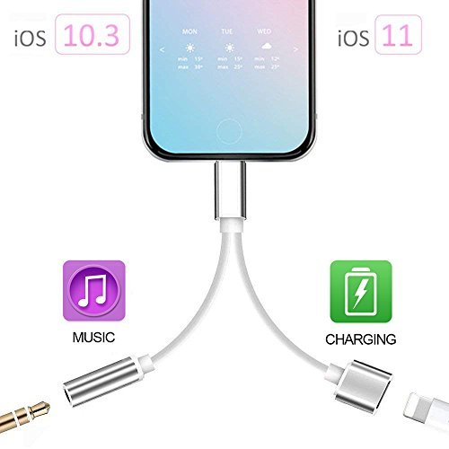 2 in 1 Lightning Adapter for iPhone 7/7 Plus/8/8 Plus/X, iPhone Adapter/Splitter, 2-Port Lightning Headphone Audio and Charger Adapter (Compatible with iOS 10.3, iOS 11 or Later) by my-handy-design