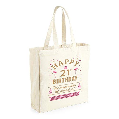 21st Birthday, Keepsake, Funny Novelty Gift For Women, Ladies, Female, Happy Birthday, Shopping Bag, Present, Tote Bag, Gift Idea ()
