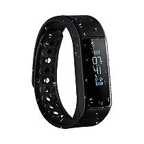 Omorc Bluetooth Fitness Tracker, Sport Armband I5 Plus SmartWatch OLED Uhr Aktivitätstracker smart bracelet mit Schlafmonitor, Schrittzähler, Kalorienzähler, SMS Anrufe Reminder für iPhone Samsung iOS und Android Smartphones – Schwarz