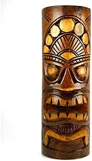 Artisanal Grand Totem Statue Tiki H 50cm en Bois Massif sculpté à la Main