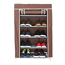 Sattva Premium Foldable Shoe Cabinet/ Shoe Rack 5 Shelves -Brown with Flower