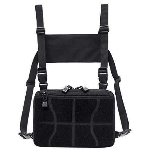 Universal Hands Free Chest Pocket Harness Bag Holster Holder Vest Rig for Storage Phone, Pen, Mag, Tools, Food and More - Black