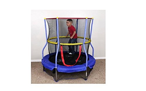 55-Round-Trampoline-w-Safety-Enclosure-Sound-jump-bouncer-kids-outside-toys