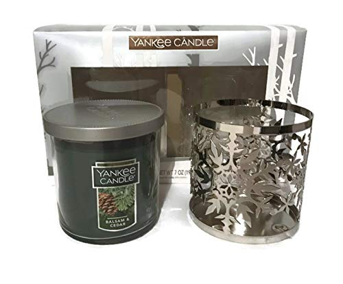 (Yankee Candle New Balsam and Cedar Tumbler Candle and Chrome Winter Snowflake Metal Holder 2 Piece Gift Set)