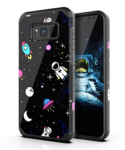 PBRO Galaxy S8 Case,Cute Astronaut Case Dual Layer Heavy Duty Hybrid PC+TPU Heavy Duty Protective Anti-Scratch Shockproof Fit for Samsung Galaxy S8 2017 Release Space/Black