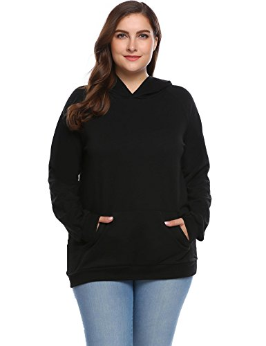 Women's Plus Size Pullover Hoodie Striped Long Sleeve Casual Sweatshirt (Pullover Hoodie Cover)