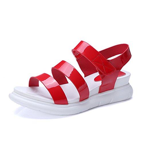 Red Loop Sandals Heels Open AmoonyFashion Kitten and Hook Toe Solid Womens wBU8v