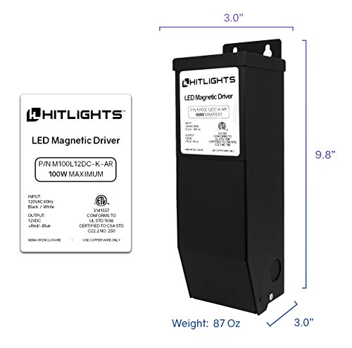 HitLights 100 Watt Dimmable Driver, Magnetic LED Driver - 110V AC-12V DC Transformer. Made in the USA. Compatible with Lutron and Leviton for LED Strip Lights, Constant Voltage LED by HitLights (Image #1)