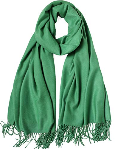 MaaMgic Womens Large Soft Cashmere Feel Pashmina Shawls Wraps Light Scarf, Green