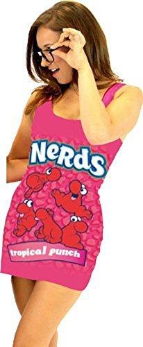 Nerds Candy Juniors Tunic Tank Dress with Nerd Glasses (Juniors Medium, Fuchsia Pink: Tropical Punch)