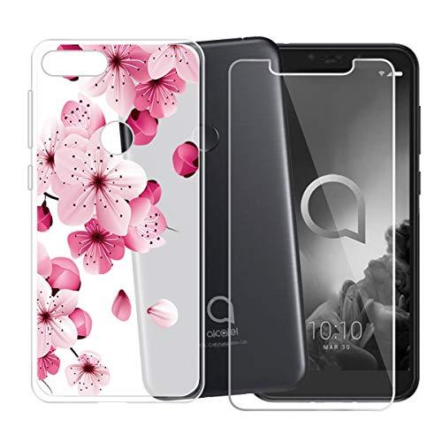 (Alcatel 1S 2019 Case + Tempered Glass Screen Protector - HHUAN Flexible Soft Semi-Transparent TPU Safflower Shell Silicone Gel Protective Case Bumper Cover for Alcatel 1S 2019 (5.50