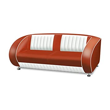 Belair - Sofa retro diner sf-02cb, color rojo: Amazon.es: Hogar