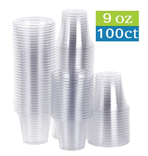 (TashiBox 9 oz Disposable Plastic Party Cups, Tumblers, 100 Count, Crystal Clear)