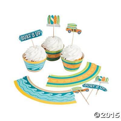 1 X Surf's Up Cupcake Wrappers with Picks - 50 of each