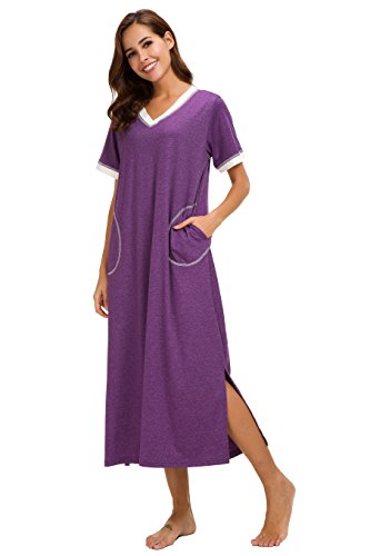 Supermamas Long Nightgown Womens Cotton Knit Short Sleeve Nightshirt with Pockets S-XXL (Eggplant, XL) by Supermamas