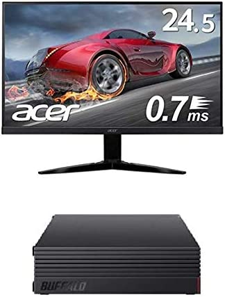 BUFFALO 外付けハードディスク 3TB テレビ録画/PC/PS4/4K対応 HD-AD3U3 + Acer ゲーミングモニター KG251QGbmiix 24.5インチ 0.7ms 75hz TN FPS向き フルHD 非光沢 フレームレス