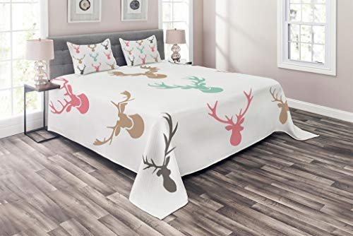 Lunarable Antlers Coverlet Set King Size, Reindeer Antlers Illustration Hunt Countryside Jungle Nature, 3 Piece Decorative Quilted Bedspread Set with 2 Pillow Shams, Pale Pink Taupe Tan Almond - Hunt King Sham