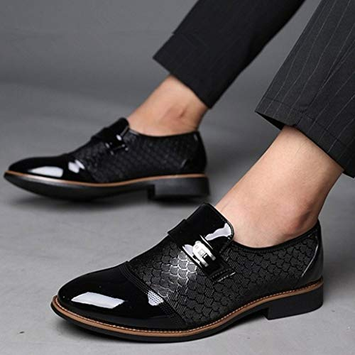 Corriee Mens Leather Oxford Shoes Male Pointed Toe Suit Shoes Flats Men's Business Shoes Dress Shoes for Wedding Black by Corriee (Image #1)