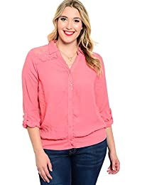 2LUV Plus Women's Plus Size Lightweight Shirt with Sheer Paneling