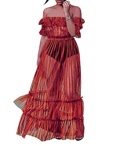 XAKALAKA Women's Sexy Lace Off Shoulder High Wasit Flared Mesh Club Maxi Dress Orange L