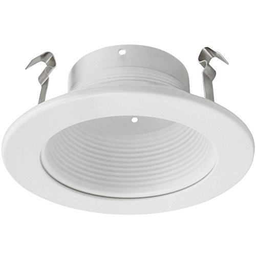 4 Inch Recessed Can Light Trim with White Metal Step Baffle, for 4 Inch Recessed Can, Fit Halo/Juno Remodel Recessed Housing, Line Voltage Available
