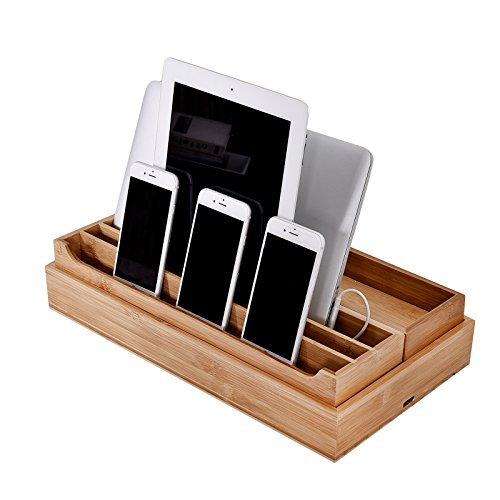 WELLAND Eco-Friendly Bamboo Multi Device Cords Organizer Stand Charging Station and Drawer Organizers