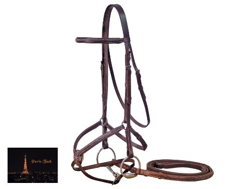 Figure Padded Bridle 8 - Paris Tack Figure 8 Padded Bridle with Rubber Reins, Oversize, Havana Brown